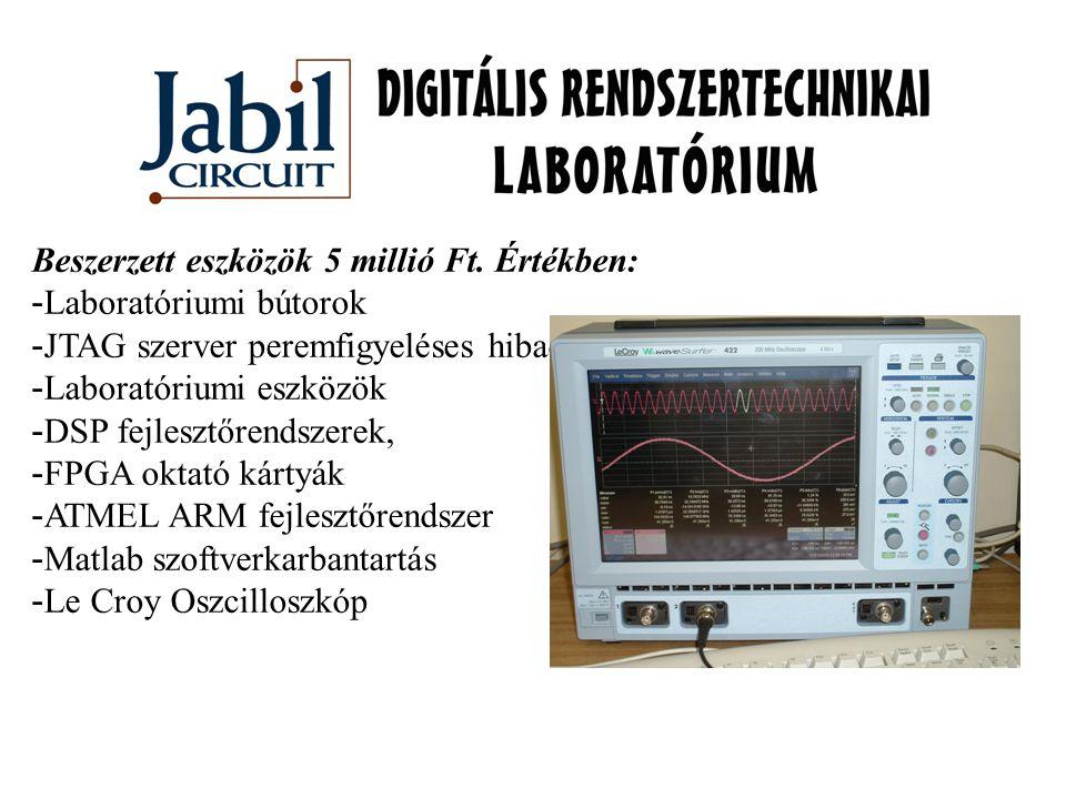 Beszerzett eszközök 5 millió Ft. Értékben: - Laboratóriumi bútorok - JTAG szerver peremfigyeléses hibadiagnosztikához - Laboratóriumi eszközök - DSP f