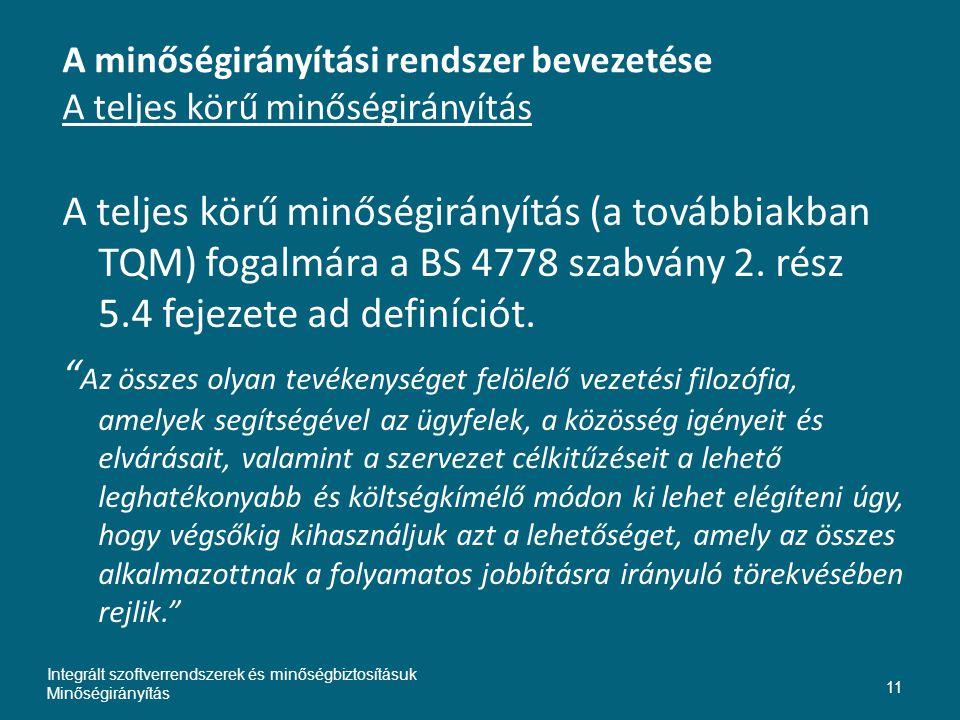 A minőségirányítási rendszer bevezetése A teljes körű minőségirányítás A teljes körű minőségirányítás (a továbbiakban TQM) fogalmára a BS 4778 szabván