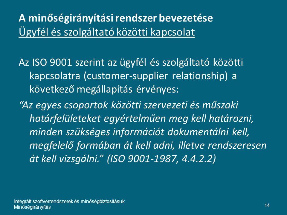 A minőségirányítási rendszer bevezetése Ügyfél és szolgáltató közötti kapcsolat Az ISO 9001 szerint az ügyfél és szolgáltató közötti kapcsolatra (cust