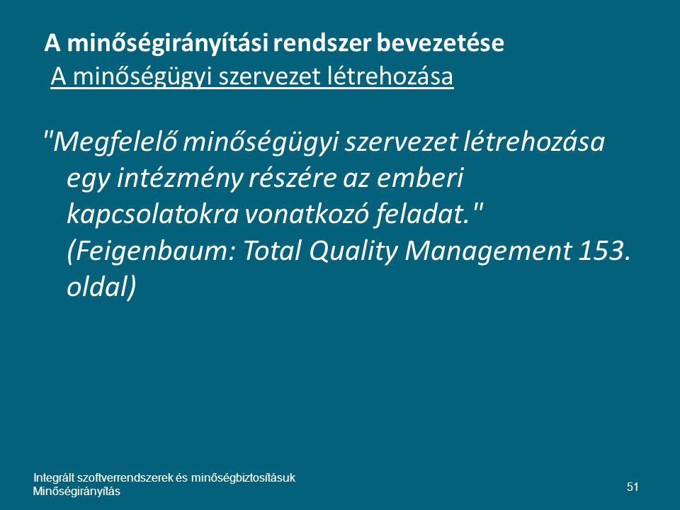A minőségirányítási rendszer bevezetése A minőségügyi szervezet létrehozása