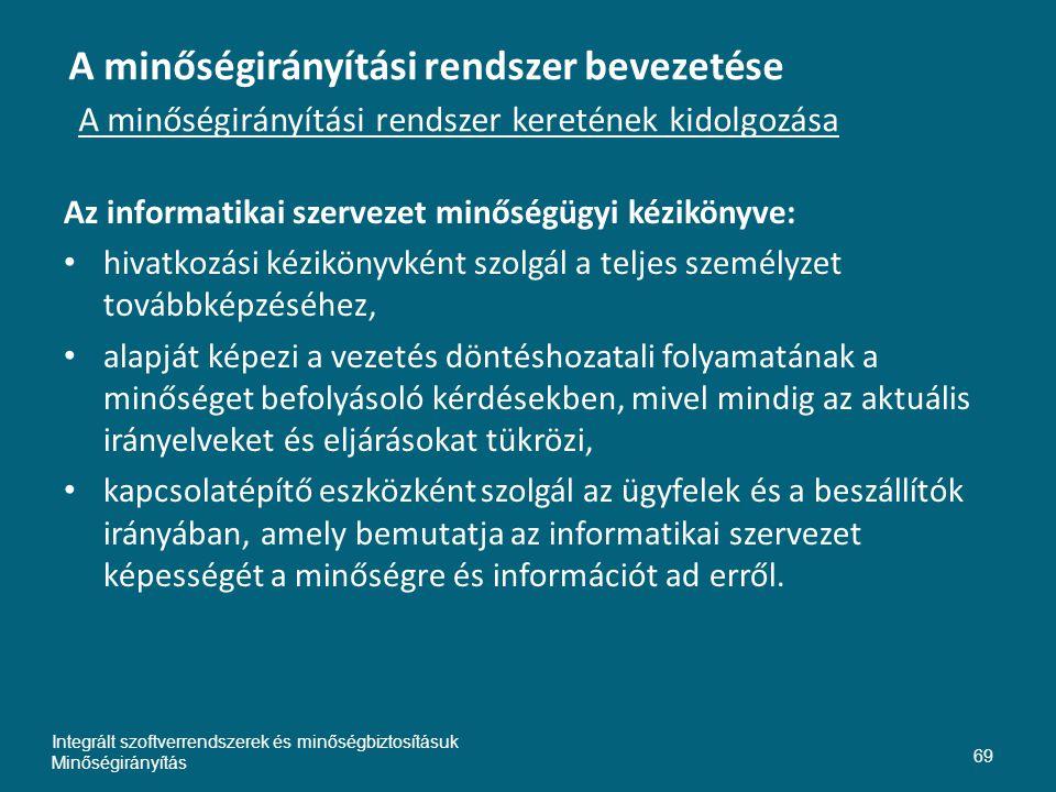 A minőségirányítási rendszer bevezetése A minőségirányítási rendszer keretének kidolgozása Az informatikai szervezet minőségügyi kézikönyve: hivatkozá