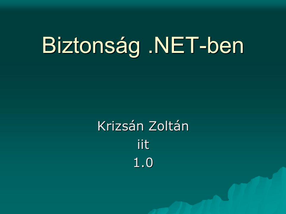 Krizsán Zoltán iit Biztonság.NET-ben 12 IIdentity public interface IIdentity{ String Name{get;} String AuthenticationType{get;} bool IsAutenticated{get;} }