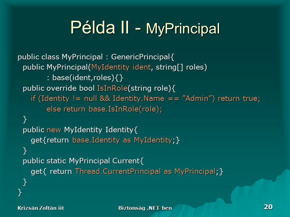 Krizsán Zoltán iit Biztonság.NET-ben 20 Példa II - MyPrincipal public class MyPrincipal : GenericPrincipal{ public MyPrincipal(MyIdentity ident, strin