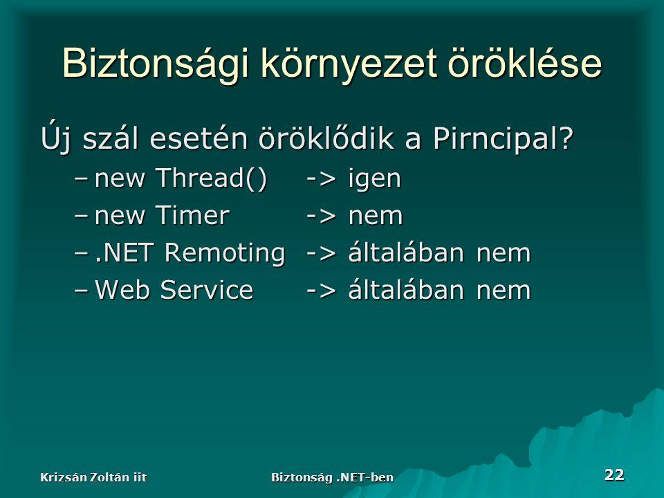 Krizsán Zoltán iit Biztonság.NET-ben 22 Biztonsági környezet öröklése Új szál esetén öröklődik a Pirncipal.