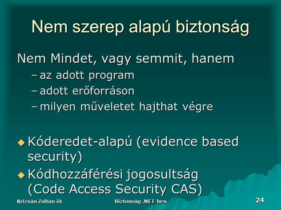Krizsán Zoltán iit Biztonság.NET-ben 24 Nem szerep alapú biztonság Nem Mindet, vagy semmit, hanem –az adott program –adott erőforráson –milyen műveletet hajthat végre  Kóderedet-alapú (evidence based security)  Kódhozzáférési jogosultság (Code Access Security CAS)