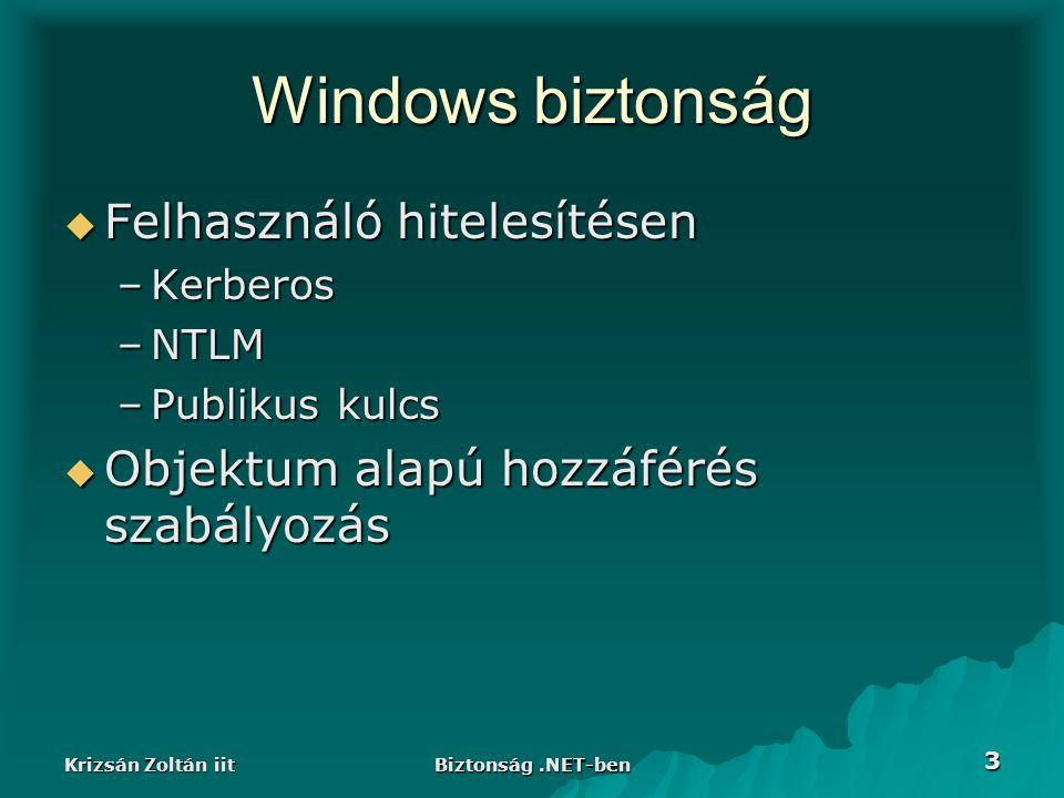 Krizsán Zoltán iit Biztonság.NET-ben 3 Windows biztonság  Felhasználó hitelesítésen –Kerberos –NTLM –Publikus kulcs  Objektum alapú hozzáférés szabályozás