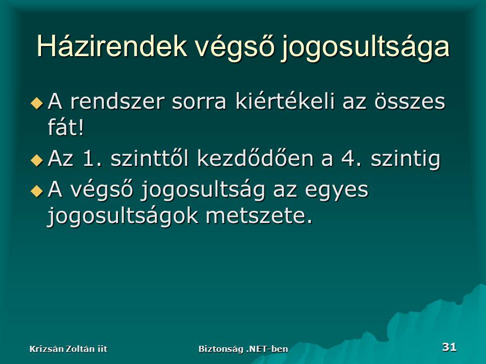 Krizsán Zoltán iit Biztonság.NET-ben 31 Házirendek végső jogosultsága  A rendszer sorra kiértékeli az összes fát.