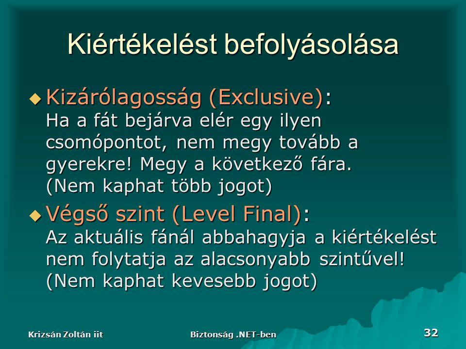 Krizsán Zoltán iit Biztonság.NET-ben 32 Kiértékelést befolyásolása  Kizárólagosság (Exclusive): Ha a fát bejárva elér egy ilyen csomópontot, nem megy tovább a gyerekre.
