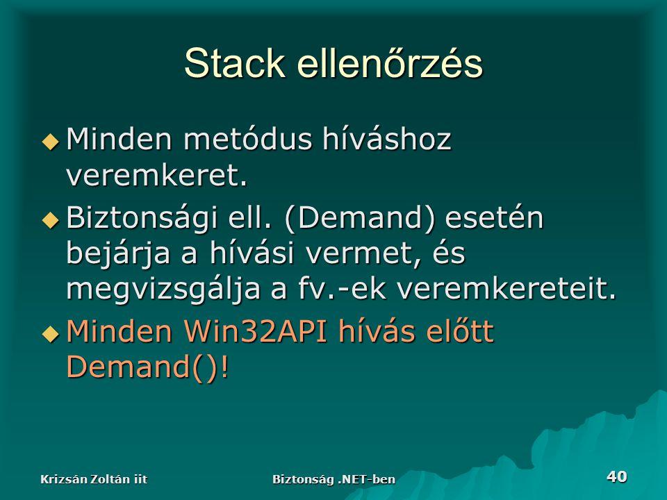 Krizsán Zoltán iit Biztonság.NET-ben 40 Stack ellenőrzés  Minden metódus híváshoz veremkeret.