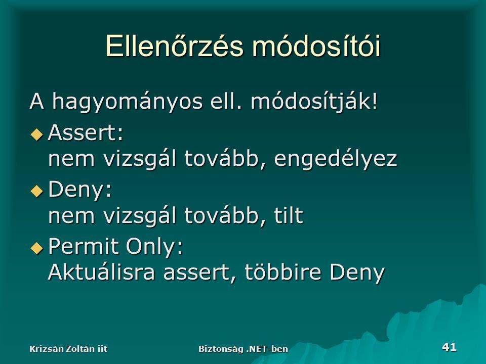 Krizsán Zoltán iit Biztonság.NET-ben 41 Ellenőrzés módosítói A hagyományos ell.