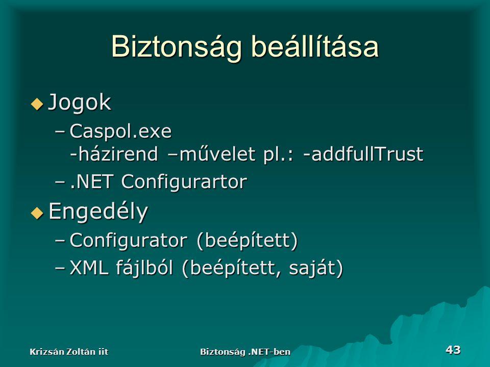 Krizsán Zoltán iit Biztonság.NET-ben 43 Biztonság beállítása  Jogok –Caspol.exe -házirend –művelet pl.: -addfullTrust –.NET Configurartor  Engedély –Configurator (beépített) –XML fájlból (beépített, saját)