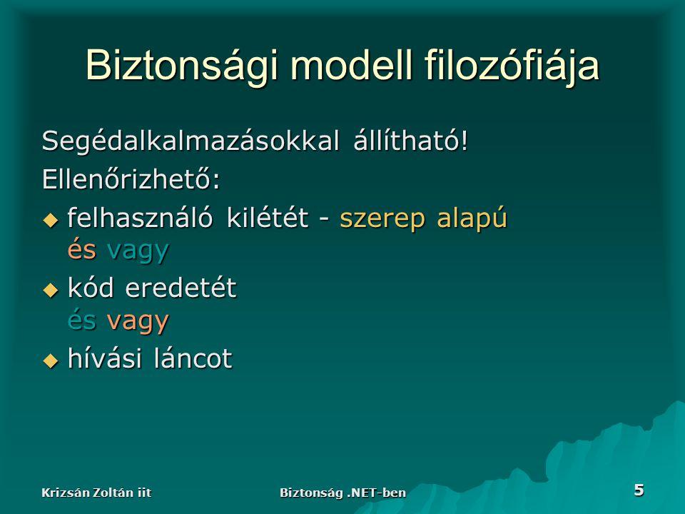 Krizsán Zoltán iit Biztonság.NET-ben 16 WindowsIdentity  Az Iidentity fv.-ei +: –IsAnonymous –IsGuest –IsSystem –static GetAnonymous() –static GetCurrent() - win32 szál lehet, hogy más, mint a.NET Identity –Impersonate() - win32 szál felh.
