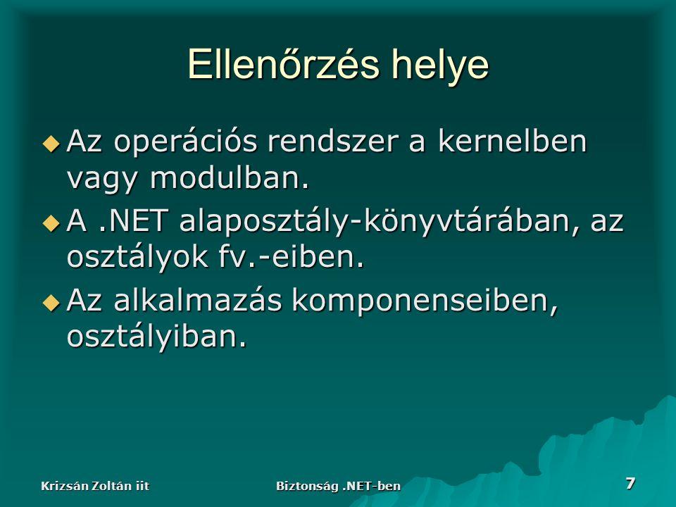 Krizsán Zoltán iit Biztonság.NET-ben 28 Jog csoportok, engedély halmazok  Jogok csoportba rendezhetőek, nevesíthetőek (Named Permission Set).
