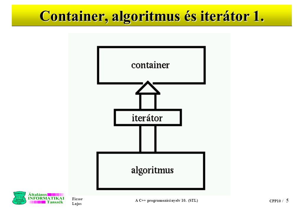 Ficsor Lajos A C++ programozási nyelv 10. (STL) CPP10 / 5 Container, algoritmus és iterátor 1.