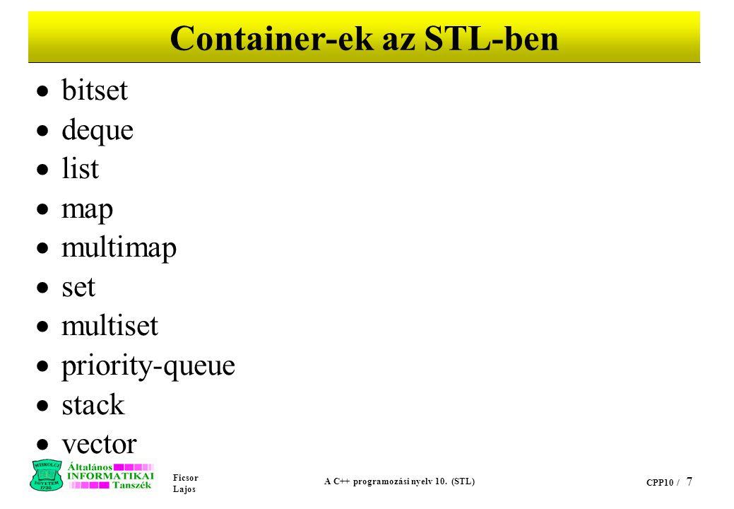 Ficsor Lajos A C++ programozási nyelv 10. (STL) CPP10 / 7 Container-ek az STL-ben  bitset  deque  list  map  multimap  set  multiset  priority