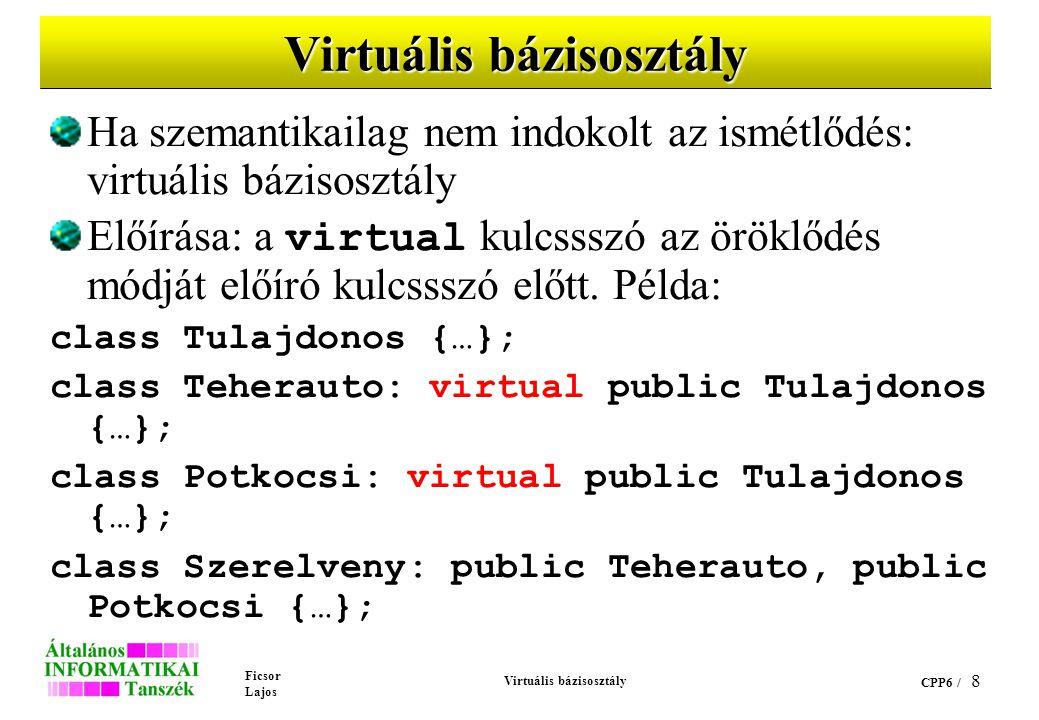 Ficsor Lajos Virtuális bázisosztály CPP6 / 8 Virtuális bázisosztály Ha szemantikailag nem indokolt az ismétlődés: virtuális bázisosztály Előírása: a virtual kulcssszó az öröklődés módját előíró kulcssszó előtt.