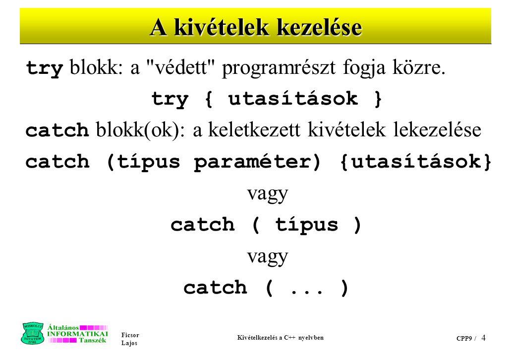 Ficsor Lajos Kivételkezelés a C++ nyelvben CPP9 / 4 A kivételek kezelése try blokk: a védett programrészt fogja közre.