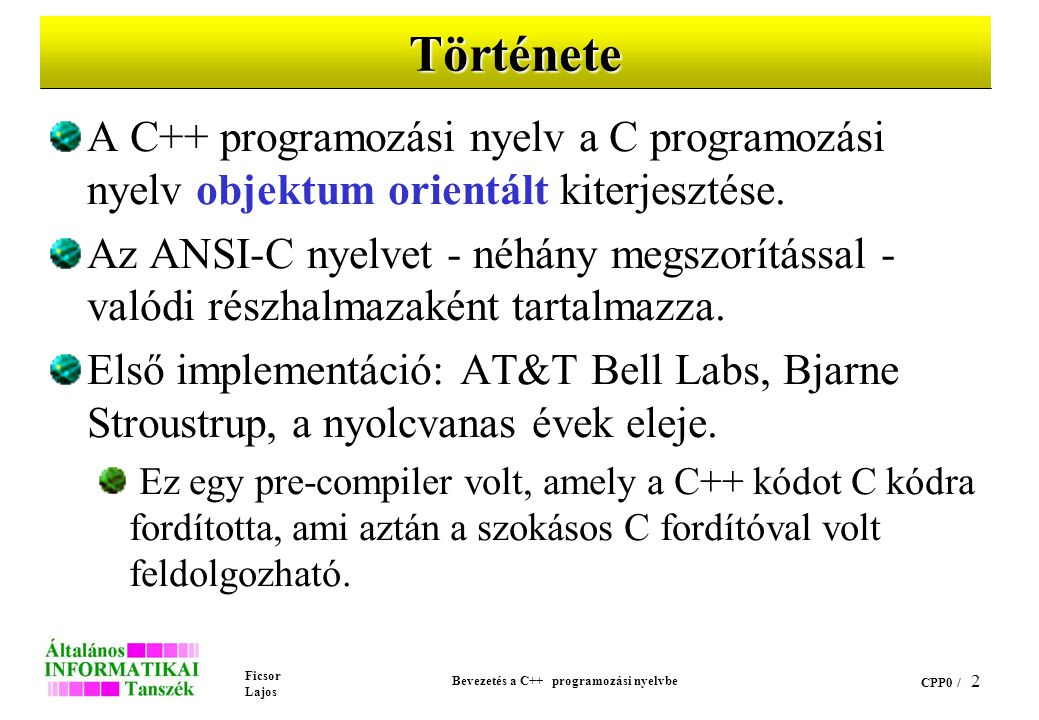 Ficsor Lajos Bevezetés a C++ programozási nyelvbe CPP0 / 22 A wchar_t alaptípus Az egy byte-nál hosszabb kódú karaktereket alkalmazó karakterkészletek egy elemét tárolni képes típus.