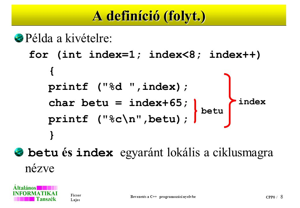 Ficsor Lajos Bevezetés a C++ programozási nyelvbe CPP0 / 8 A definíció (folyt.) Példa a kivételre: for (int index=1; index<8; index++) { printf ( %d ,index); char betu = index+65; printf ( %c\n ,betu); } betu és index egyaránt lokális a ciklusmagra nézve betu index