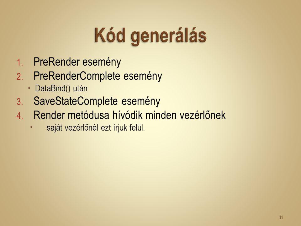 1. PreRender esemény 2. PreRenderComplete esemény  DataBind() után 3. SaveStateComplete esemény 4. Render metódusa hívódik minden vezérlőnek  saját