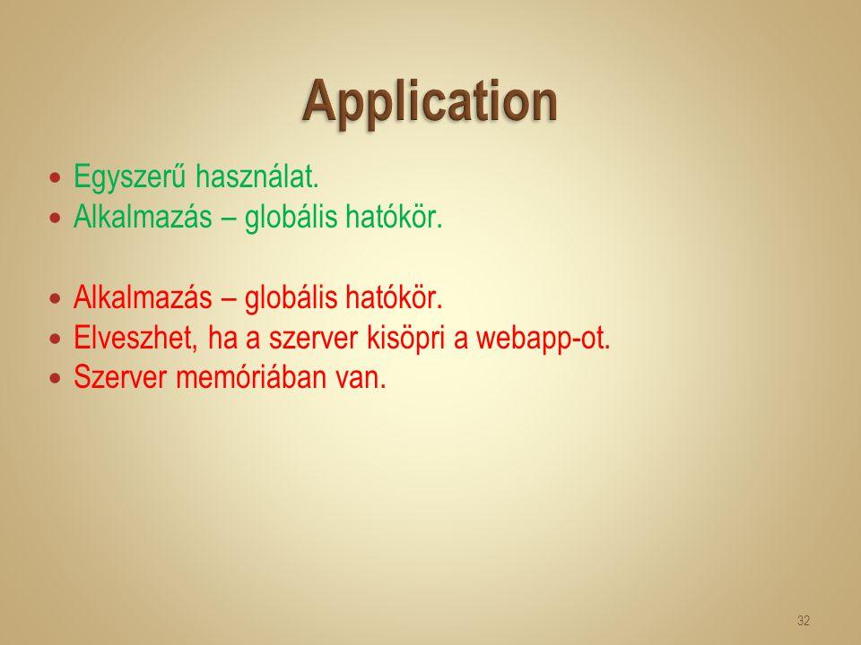 Egyszerű használat. Alkalmazás – globális hatókör. Elveszhet, ha a szerver kisöpri a webapp-ot. Szerver memóriában van. 32