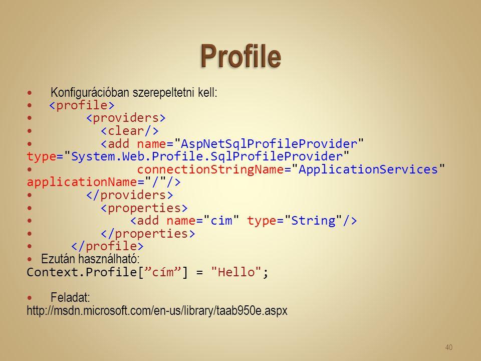 Konfigurációban szerepeltetni kell: <add name=