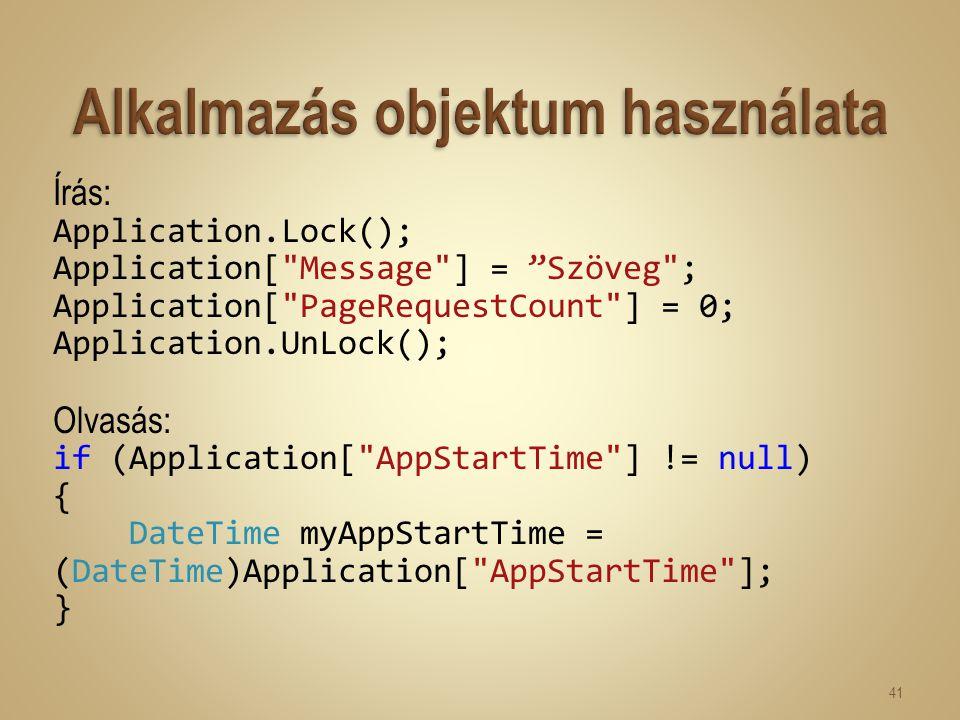 Írás: Application.Lock(); Application[