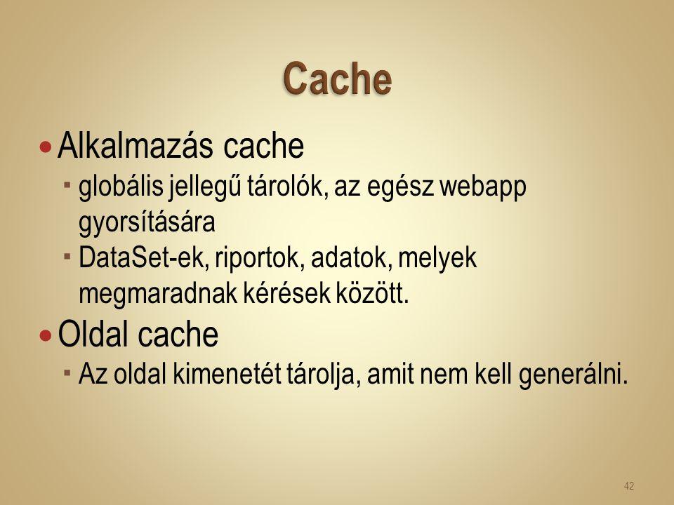 Alkalmazás cache  globális jellegű tárolók, az egész webapp gyorsítására  DataSet-ek, riportok, adatok, melyek megmaradnak kérések között. Oldal cac