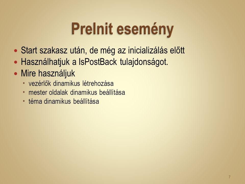 Start szakasz után, de még az inicializálás előtt Használhatjuk a IsPostBack tulajdonságot. Mire használjuk  vezérlők dinamikus létrehozása  mester