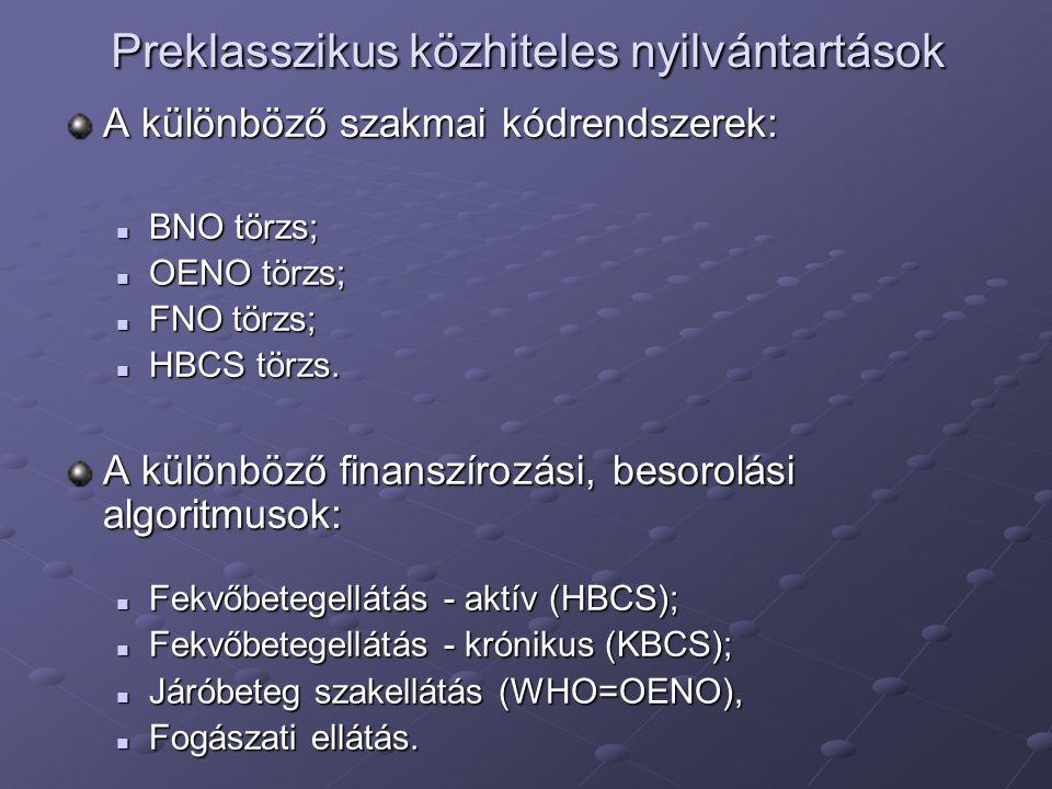 Preklasszikus közhiteles nyilvántartások A különböző szakmai kódrendszerek: BNO törzs; BNO törzs; OENO törzs; OENO törzs; FNO törzs; FNO törzs; HBCS törzs.
