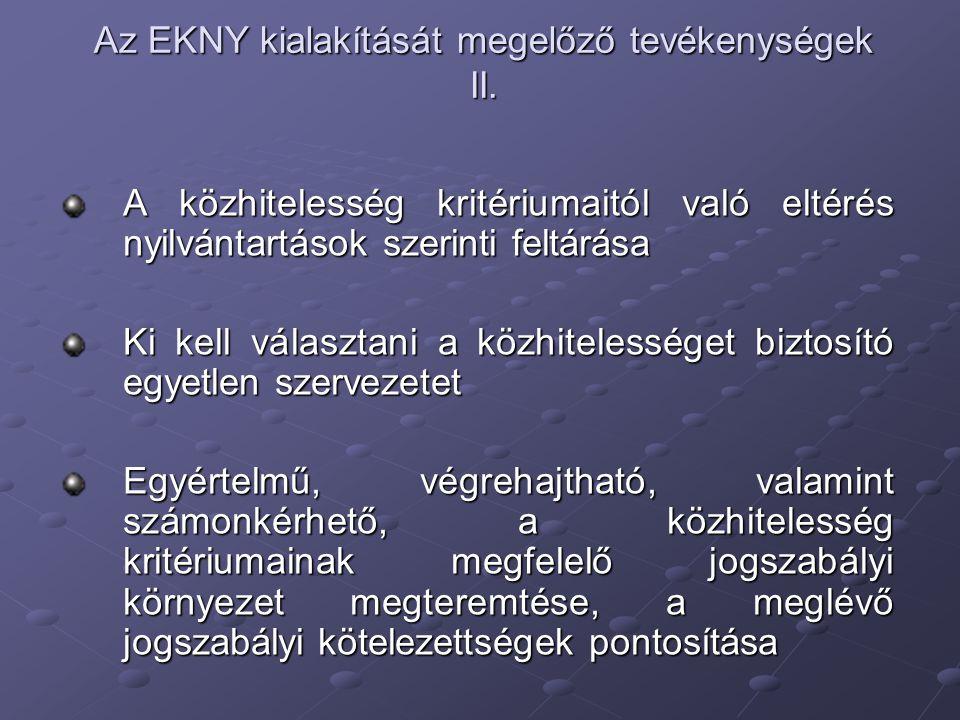 Az EKNY kialakítását megelőző tevékenységek II.