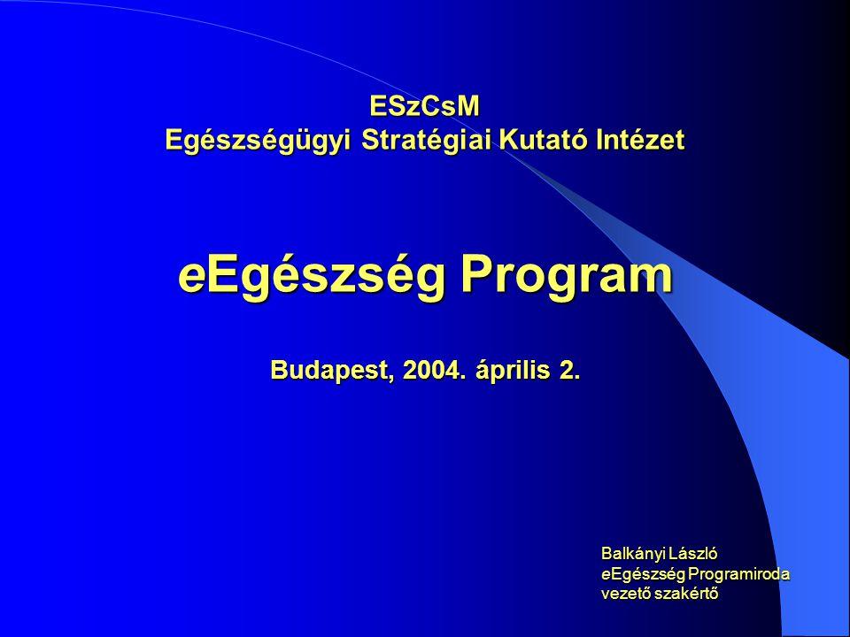 ESzCsM Egészségügyi Stratégiai Kutató Intézet eEgészség Program Budapest, 2004.