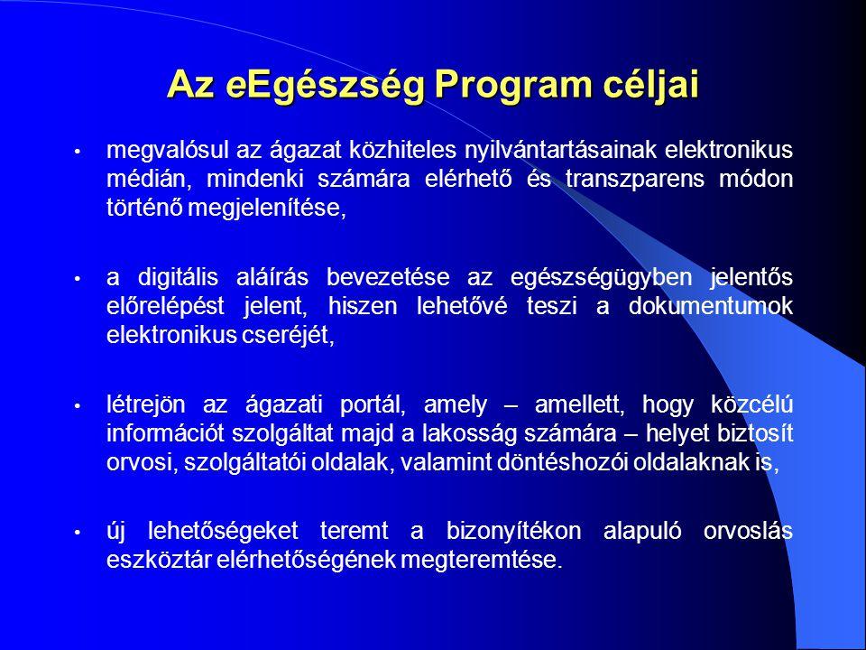 Az eEgészség Program céljai megvalósul az ágazat közhiteles nyilvántartásainak elektronikus médián, mindenki számára elérhető és transzparens módon történő megjelenítése, a digitális aláírás bevezetése az egészségügyben jelentős előrelépést jelent, hiszen lehetővé teszi a dokumentumok elektronikus cseréjét, létrejön az ágazati portál, amely – amellett, hogy közcélú információt szolgáltat majd a lakosság számára – helyet biztosít orvosi, szolgáltatói oldalak, valamint döntéshozói oldalaknak is, új lehetőségeket teremt a bizonyítékon alapuló orvoslás eszköztár elérhetőségének megteremtése.