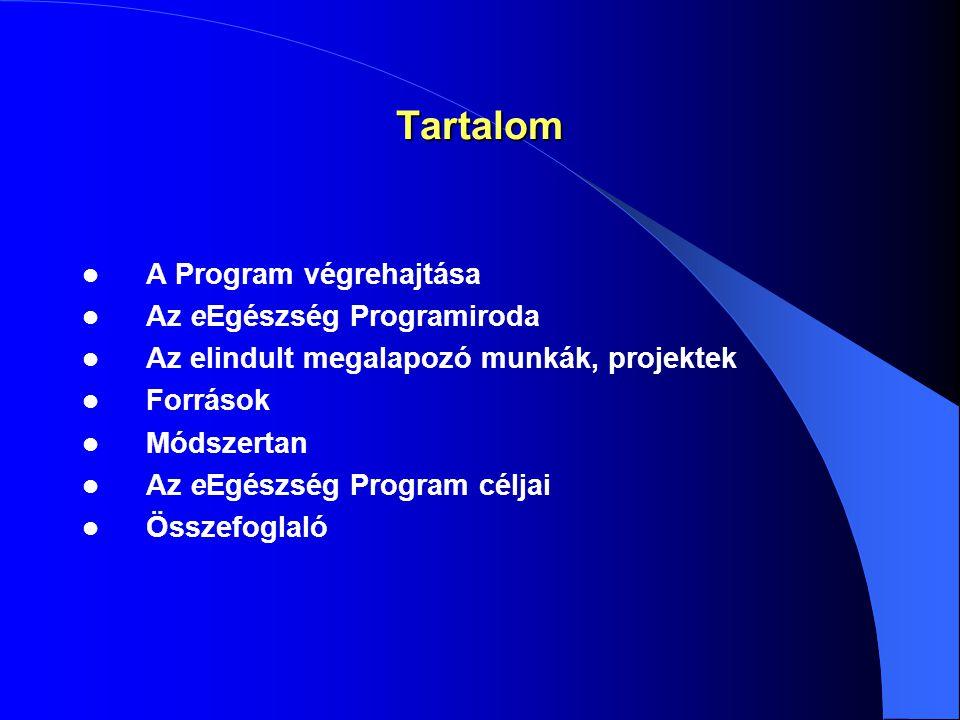 Tartalom A Program végrehajtása Az eEgészség Programiroda Az elindult megalapozó munkák, projektek Források Módszertan Az eEgészség Program céljai Összefoglaló