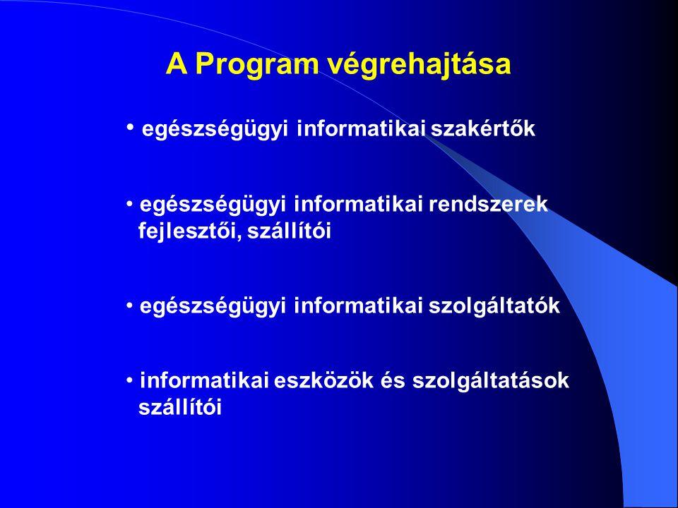A Program végrehajtása egészségügyi informatikai szakértők egészségügyi informatikai rendszerek fejlesztői, szállítói egészségügyi informatikai szolgáltatók informatikai eszközök és szolgáltatások szállítói