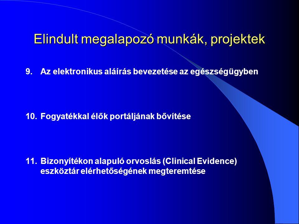 9.Az elektronikus aláírás bevezetése az egészségügyben 10.Fogyatékkal élők portáljának bővítése 11.Bizonyítékon alapuló orvoslás (Clinical Evidence) eszköztár elérhetőségének megteremtése