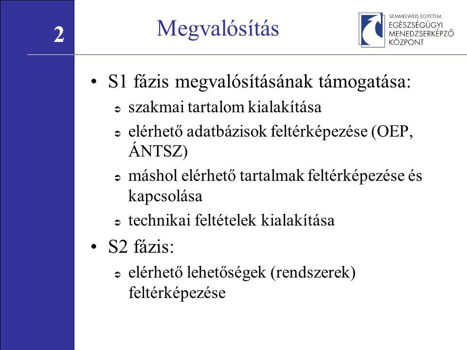 Megvalósítás S1 fázis megvalósításának támogatása:  szakmai tartalom kialakítása  elérhető adatbázisok feltérképezése (OEP, ÁNTSZ)  máshol elérhető tartalmak feltérképezése és kapcsolása  technikai feltételek kialakítása S2 fázis:  elérhető lehetőségek (rendszerek) feltérképezése 2