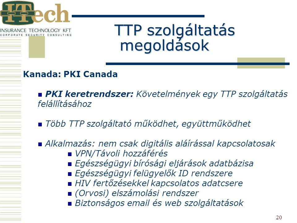 20 Kanada: PKI Canada PKI keretrendszer: Követelmények egy TTP szolgáltatás felállításához Több TTP szolgáltató működhet, együttműködhet Alkalmazás: n