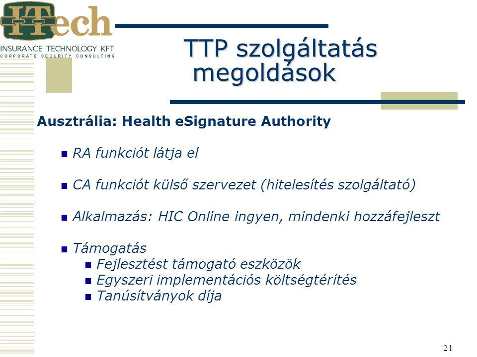 21 Ausztrália: Health eSignature Authority RA funkciót látja el CA funkciót külső szervezet (hitelesítés szolgáltató) Alkalmazás: HIC Online ingyen, m