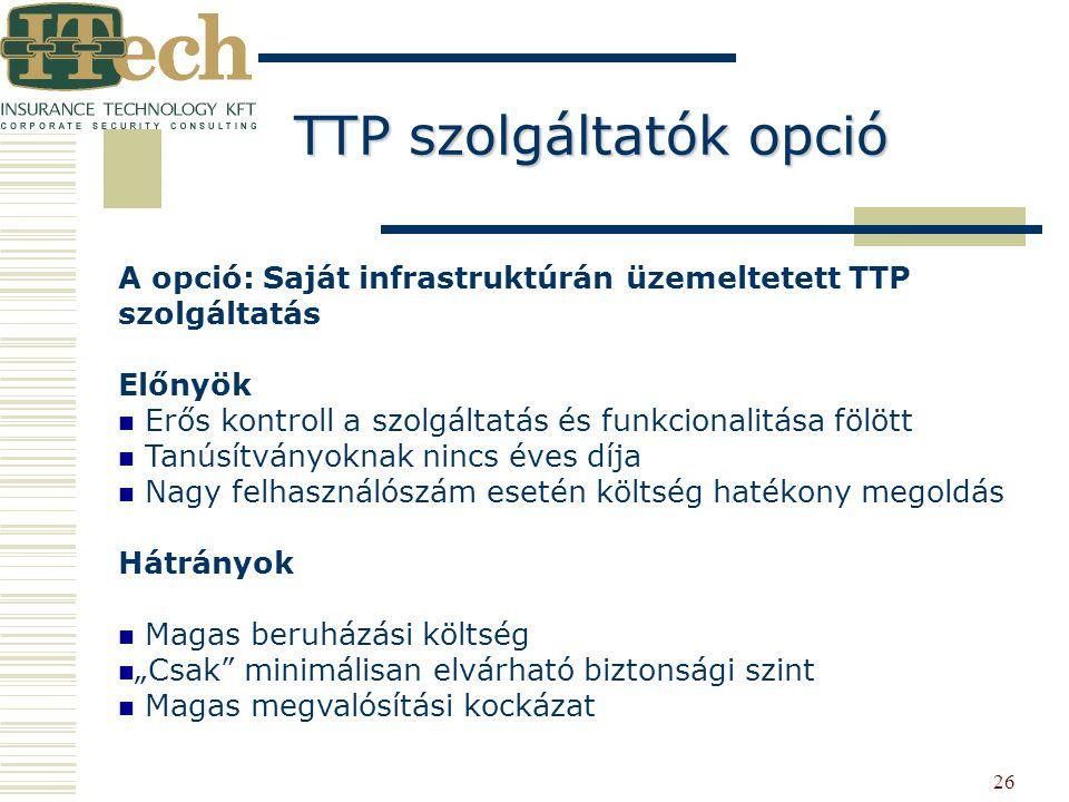 26 A opció: Saját infrastruktúrán üzemeltetett TTP szolgáltatás Előnyök Erős kontroll a szolgáltatás és funkcionalitása fölött Tanúsítványoknak nincs