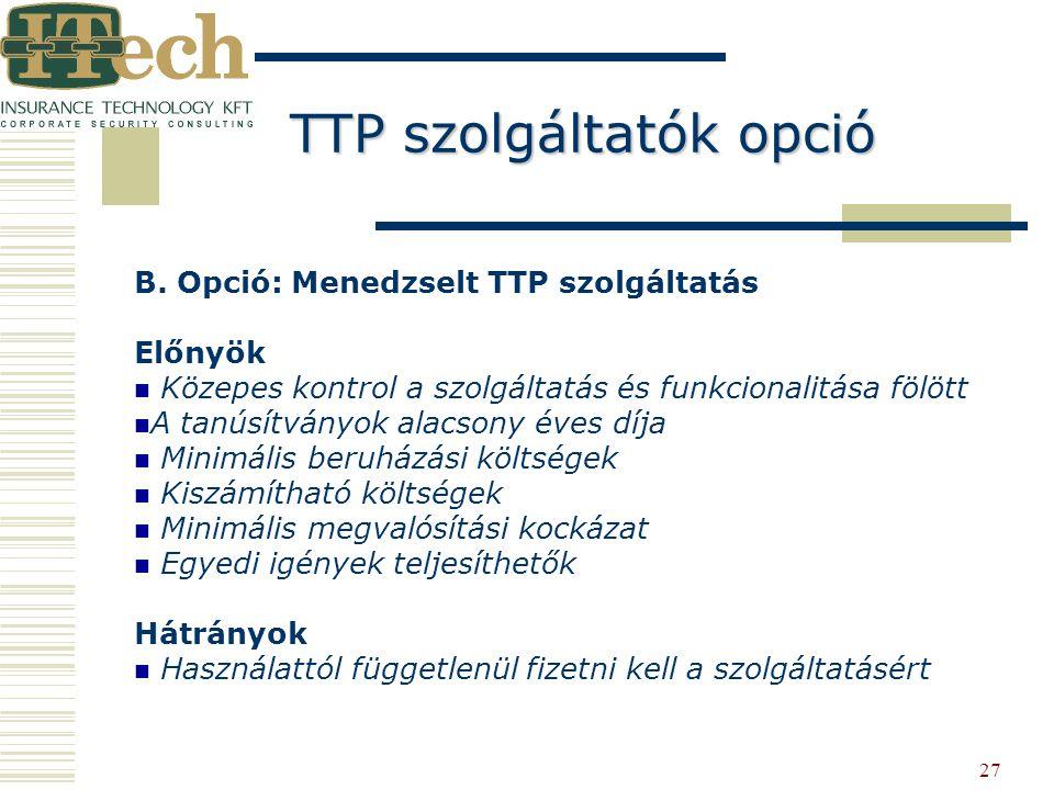 27 B. Opció: Menedzselt TTP szolgáltatás Előnyök Közepes kontrol a szolgáltatás és funkcionalitása fölött A tanúsítványok alacsony éves díja Minimális