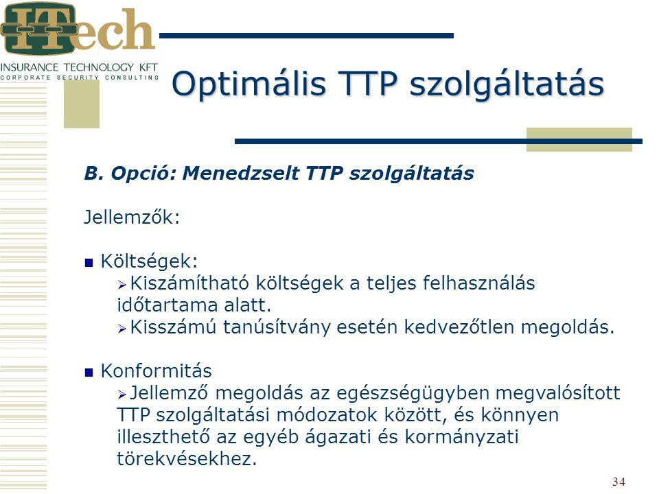 34 B. Opció: Menedzselt TTP szolgáltatás Jellemzők: Költségek:   Kiszámítható költségek a teljes felhasználás időtartama alatt.   Kisszámú tanúsít