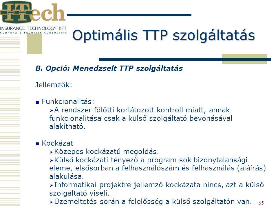 35 B. Opció: Menedzselt TTP szolgáltatás Jellemzők: Funkcionalitás:   A rendszer fölötti korlátozott kontroll miatt, annak funkcionalitása csak a kü