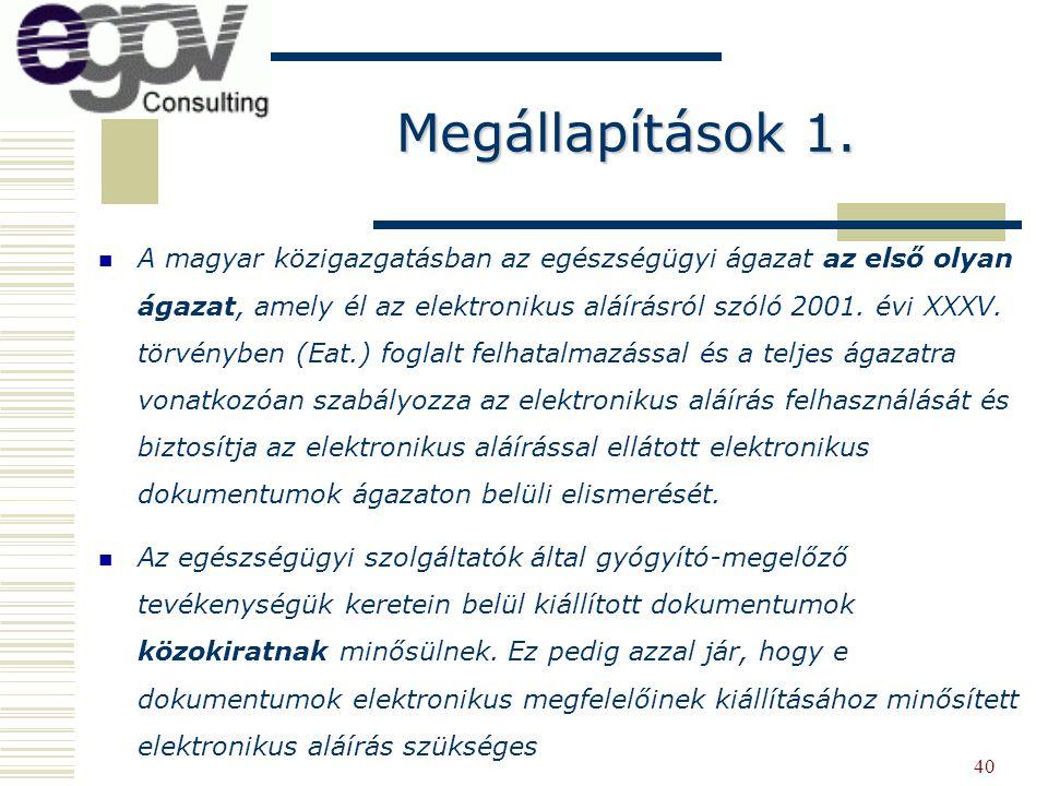 40 A magyar közigazgatásban az egészségügyi ágazat az első olyan ágazat, amely él az elektronikus aláírásról szóló 2001. évi XXXV. törvényben (Eat.) f