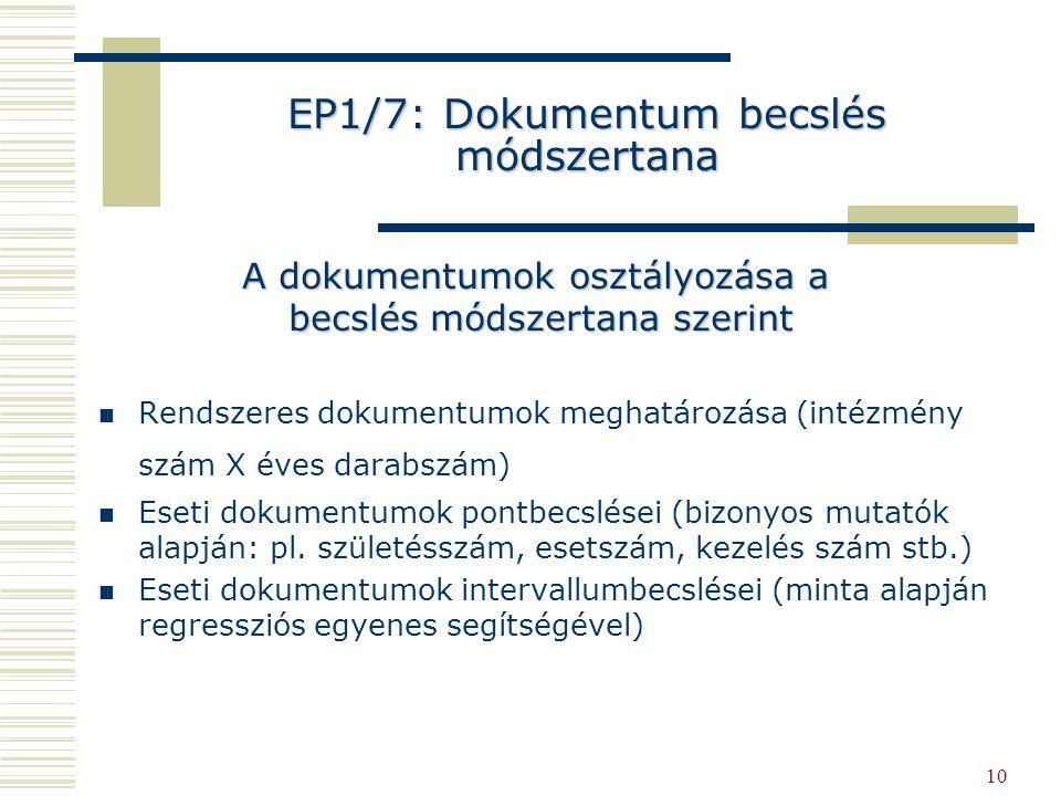 10 EP1/7: Dokumentum becslés módszertana Rendszeres dokumentumok meghatározása (intézmény szám X éves darabszám) Eseti dokumentumok pontbecslései (bizonyos mutatók alapján: pl.