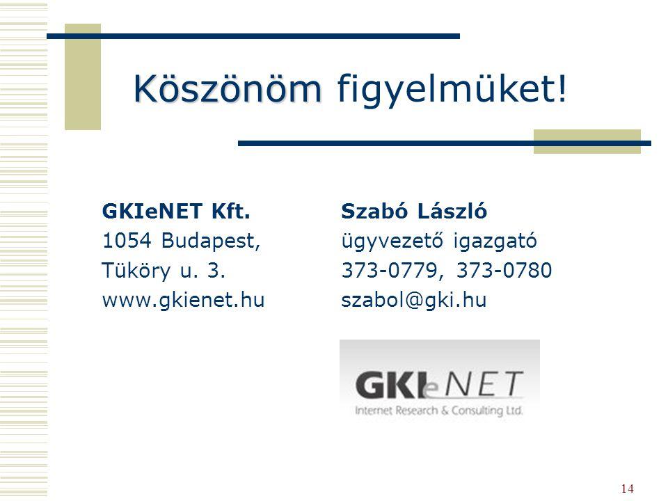 14 Köszönöm Köszönöm figyelmüket. GKIeNET Kft. 1054 Budapest, Tüköry u.