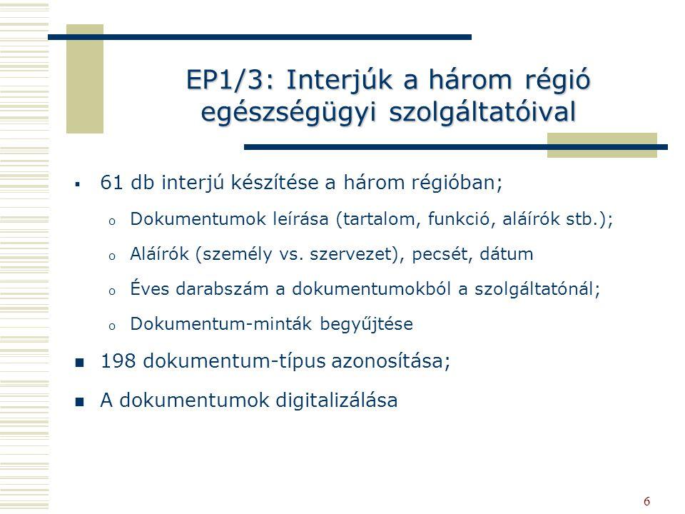 6 EP1/3: Interjúk a három régió egészségügyi szolgáltatóival   61 db interjú készítése a három régióban; o o Dokumentumok leírása (tartalom, funkció, aláírók stb.); o o Aláírók (személy vs.