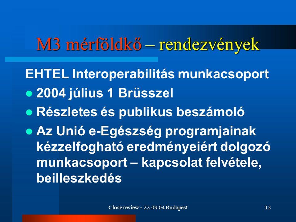 Close review - 22.09.04 Budapest12 M3 mérföldkő – rendezvények EHTEL Interoperabilitás munkacsoport 2004 július 1 Brüsszel Részletes és publikus beszá