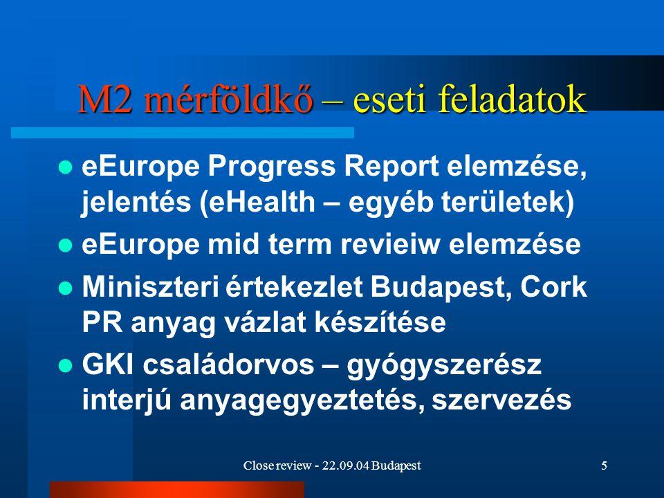 Close review - 22.09.04 Budapest6 M2 mérföldkő – eseti feladatok Danish Management statisztikai felmérés kapcsolatfelvétel az OSH-val megoldás az ESZCSM segítségével Az EU internetes oldalairól indított hírlevél listára feliratkozás, hírek követése