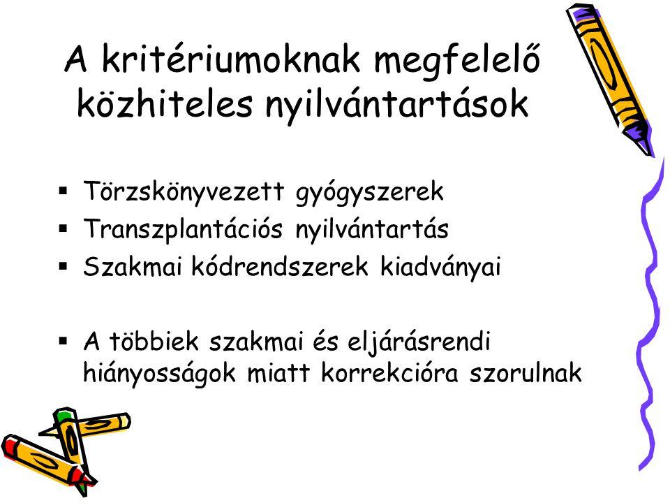 A kritériumoknak megfelelő közhiteles nyilvántartások  Törzskönyvezett gyógyszerek  Transzplantációs nyilvántartás  Szakmai kódrendszerek kiadványai  A többiek szakmai és eljárásrendi hiányosságok miatt korrekcióra szorulnak